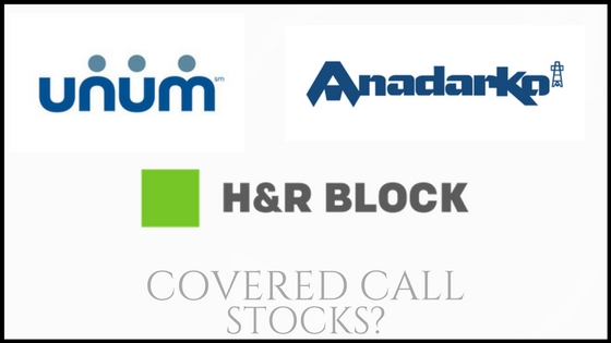 Are Anadarko, Unum Group, and H&R Block good stocks for covered calls?