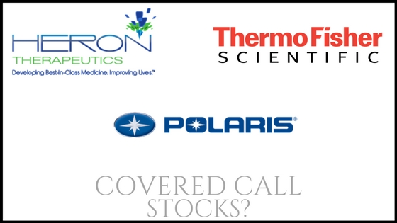 Are Heron Therapeutics, Thermo Fisher Scientific, and Polaris good stocks for covered calls?
