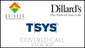 Are Total System Services, Dillard's, and Brinker International good stocks for covered call income?