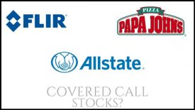 Are Allstate, Papa John's International, and Flir Systems good covered call stocks?