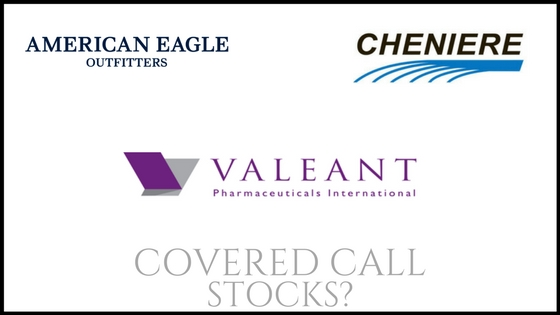 Are Valeant Pharma, Cheniere Energy, and American Eagle Outfitters good covered call stocks?